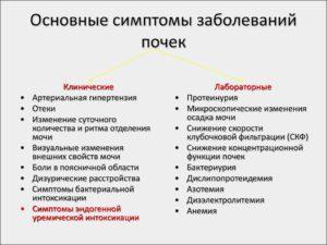 Симптомы болезни - нарушения функции почек