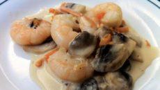 Креветки с грибами